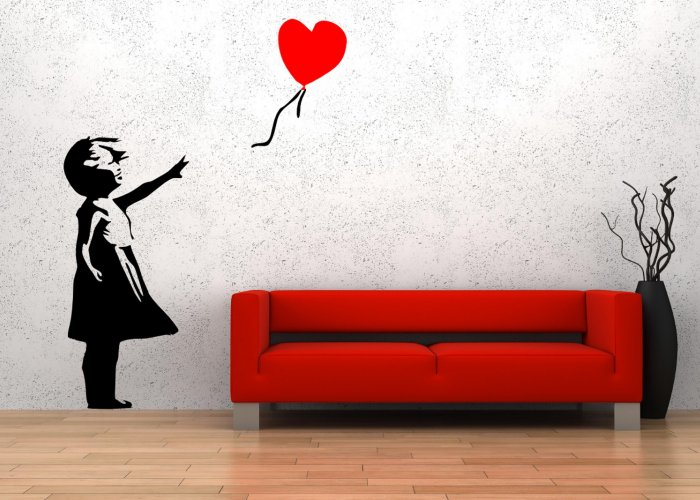 Banksy Style Balloon Girl 'There is always hope' Wall Stickers