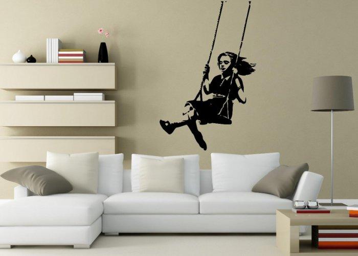 Banksy Style Swinging Girl - Large Wall Sticker