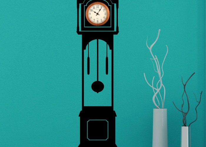 Grandfather Clock Silhouette Wall Decal - Clock Background