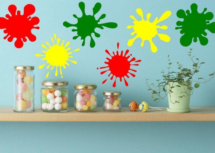 Paint Splash - Set of 6 Colourful Vinyl Stickers