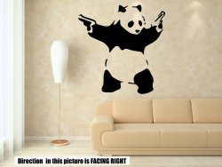 Banksy Style Panda With Guns Art Sticker