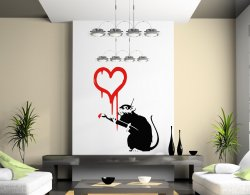 Banksy Style Rat Painting Red Heart Wall Sticker