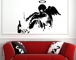 Banksy Style Fallen Angel Vinyl Wall Sticker