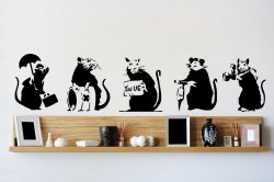 Banksy Style 5 x Rat (20cm width x 25cm height each) - Art Vinyl Stickers