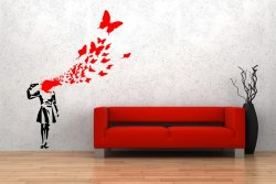 Banksy Style Suicide Butterfly Girl Art Decoration