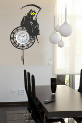 Banksy - Large Grim Reaper On The Clock - Enhanced Clock Background Sticker