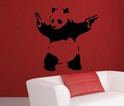 Banksy style Panda Waving Hand Guns X-LARGE 100cm