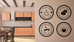 Coffee Break - Set Of 4 Large Wall Stickers Ideal For Cafes / Restaurants etc.