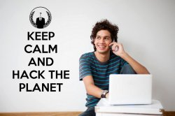 Keep Calm And Hack The Planet - Anonymous / Globe Vinyl Wall Sticker Quote