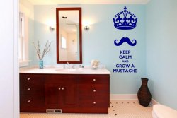 'Keep calm and grow a mustache' - Funny Vinyl Decal