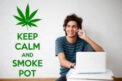 'Keep calm and smoke pot' - Humorous Wall Decal