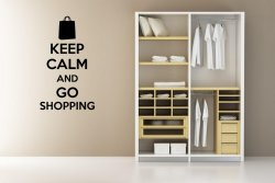 'Keep calm and go shopping' - Large Wall Decoration