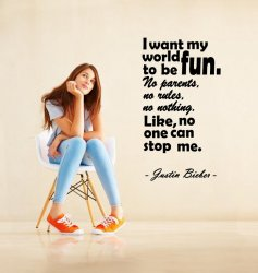 'I want my world be fun...' Justin Bieber Quote - Vinyl Sticker