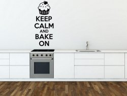 'Keep Calm and Bake On' - Kitchen / Dining Room / Bakery Wall Decal