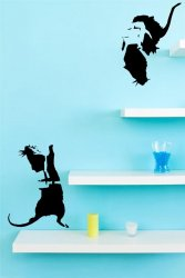 Banksy Graffiti - Two Climbing Rats - Wall Stickers