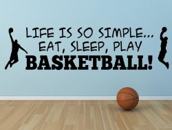 'Life is so simple... Eat, sleep, play basketball !' - Large Vinyl Decor