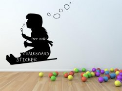 Banksy 'Bubble Girl' Wall Chalkboard Sticker With Free Chalk And Sponge