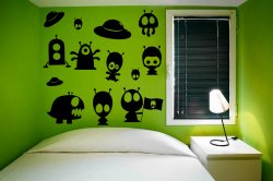 Cute Set Of Funny Aliens UFO - Kids Room Wall Decorations