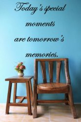 ' Today's special moments are tomorrow's memories ' - Large Vinyl Wall Quote