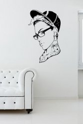 Tattooed Girl With Glasses - Modern Wall Decal