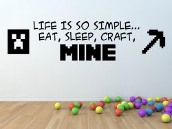 'Life is so simple - eat, sleep, craft, mine' - Amazing Large Wall Sticker