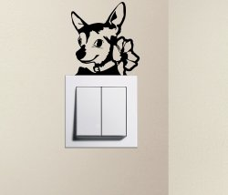 Designer - Cute Dog Chihuahua Pet Light Switch Sticker Funny Wall Decal