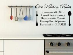 'Our Kitchen Rules' - Amazing Kitchen / Dining Room Wall Sticker