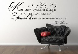 'Kiss me under the light of a thousand stars' Ed Sheeran Quote Vinyl Sticker
