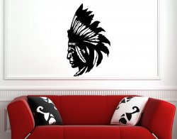Amazing Dignified Indian / Native American - Vinyl Wall Sticker