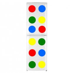 12 Colourful Circles - Blue, Yellow, Red and Green Waterproof Fridge Stickers 20