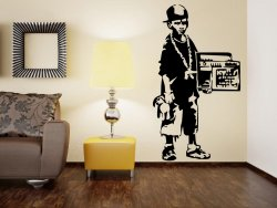Banksy Street Gangster Boy - Large Vinyl Wall Decal