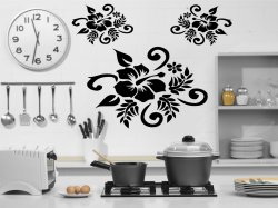 Set of 3 Hibiscus Stickers -  Car - Fridge - Wall Stickers