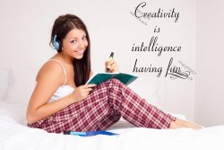 'Creativity is intelligence having fun' - Amazing Motivational Wall Sticker