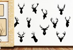 Set of 12 stylish STAG HEADS Wall Sticker - Designer's choice