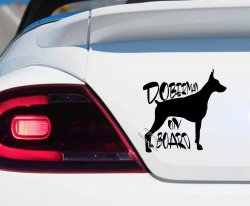 Doberman On Board - Car sticker, decal, tattoo