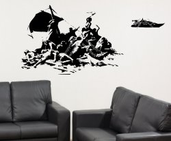 'Banksy's version of The Raft of the Medusa' - Wall Sticker, Decal, Wall Art 201