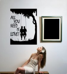 All you need is love - Couple on a swing - Beautiful Wall Art Sticker Decal