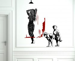 Banksy - Dismaland 2016  -Boys peeping at a woman taking shower