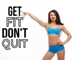 GET FIT DON'T QUIT - Fantastic Motivational Wall Quote Sticker