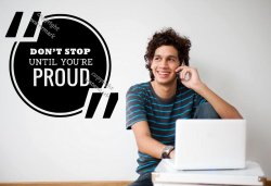 'Don't stop until you're proud' - Motivational Quote Wall Sticker