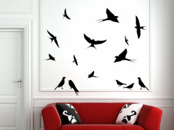 Cute Swallows Large Set Removable Wall Stickers Birds Decal Bird Premium Vinyl D