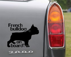 French Bulldog on board car sticker