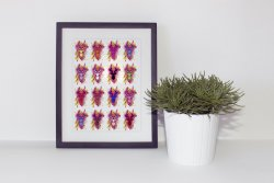Warhol Diptych Style Set of Colourful Deers Poster