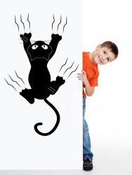 Cat Scratching The Wall Funny Removable Wall Sticker Great For Kids Room