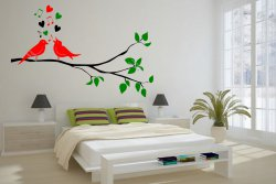 Singing Birds On The Branch Large Multicolored Wall Sticker Removable Vinyl Dec