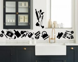 Stylish set of large kitchen silhouette background for tiles, fridge or wall