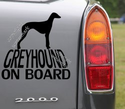 Greyhound on board Removable dog lover's car sticker, bumper decal