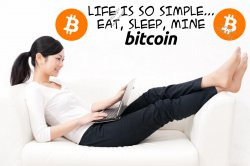 Life Is So Simple... Eat, Sleep, Mine Bitcoin! Huge Removable Wall Sticker Premi