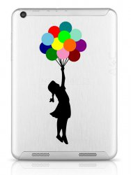 Wall Sticker Banksy Girl With Colourful Balloons Laptop Car Fridge Tablet Decal