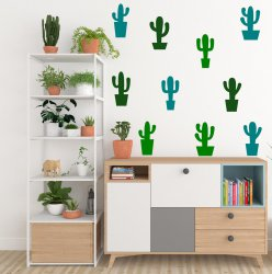 Multi Shaped Cactus Cacti Plants Set of 10 Removable Wall Stickers